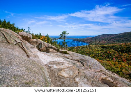 Eagle Lake Seen From Atop A Mountain Called The South Bubble At Acadia National Park, Maine, USA - stock photo