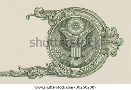Eagle on  U.S. dollar bill closeup macro, 1 usd banknote - stock photo