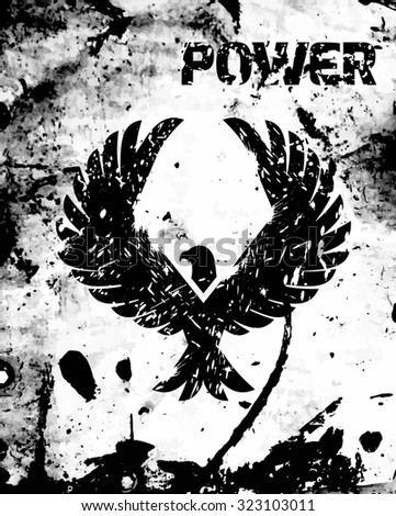 Eagle power poster with black bird silhouette and grunge ink background  illustration