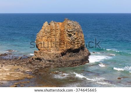 Eagle Rock at Aireys Inlet on the Great Ocean Road Victoria - Australia. The coastline along the great ocean road and is a spectacular road trip accessible from Melbourne. - stock photo