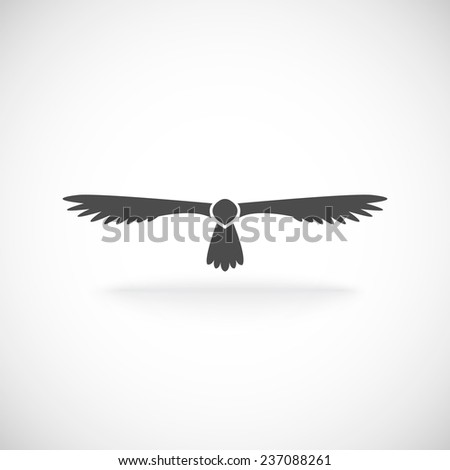 Eagle soaring aloft spread wings symbol of spirit power and strength tattoo icon black abstract  illustration - stock photo