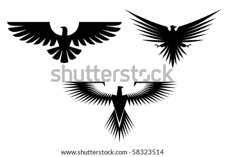 Eagle symbol isolated on white - also as emblem, such a logo. Vector version also available - stock photo