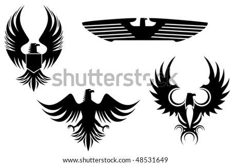 Eagle symbol isolated on white for tattoo design or logo template. Vector version is also available  - stock photo