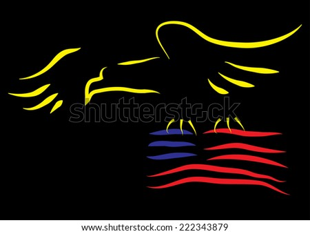 Eagle with American Flag  - stock photo