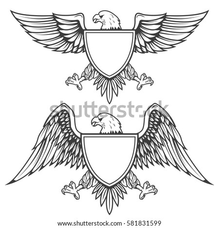 Eagle with shield isolated on white background. Design element for emblem, badge.