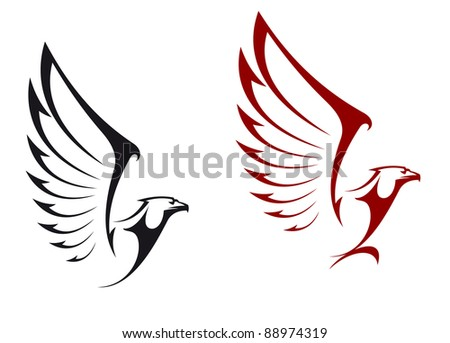 Eagles isolated on white background for mascot or emblem design, such a logo. Vector version also available in gallery - stock photo
