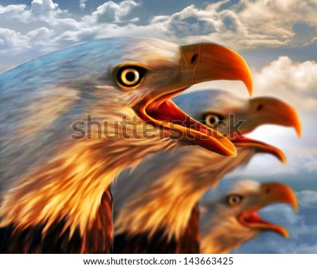 Eagles Talking - stock photo