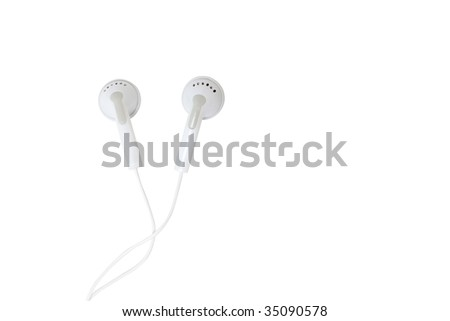 Ear buds isolated on white - stock photo