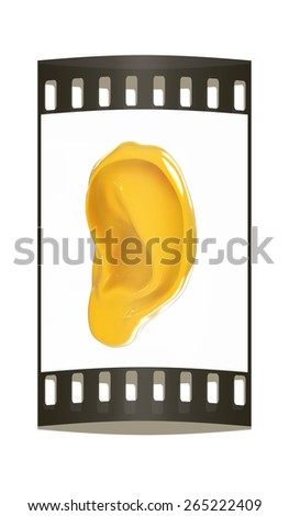 Ear 3d render isolated on white background. The film strip - stock photo