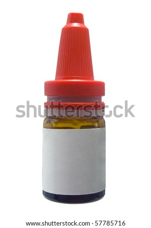 Ear drop bottle with a empty white label ready for adding your own text - stock photo