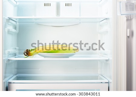 Ear of corn on white plate in open empty refrigerator. Weight loss diet concept. - stock photo