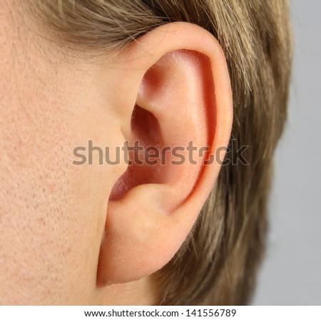 ear of the person(man), closeup - stock photo