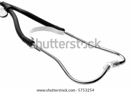 Ear piece of a Sthetoscope. Isolated on white background.