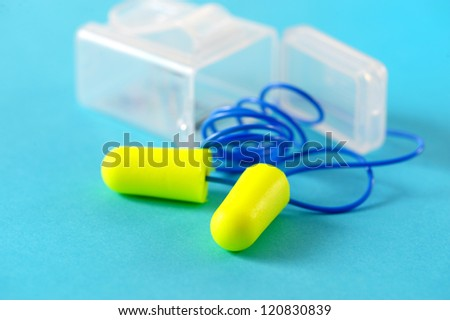 ear plug for industrial noise, hearing protection - stock photo