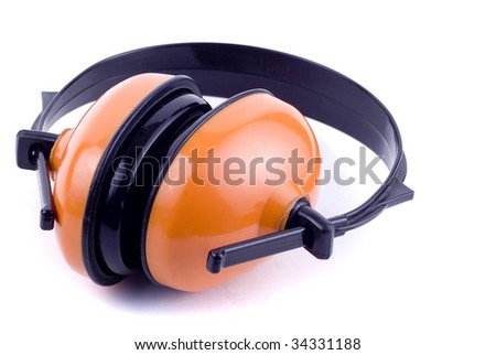 Ear protectors over white - stock photo