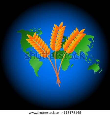 Ear symbol against continents in a dark blue circle - stock photo