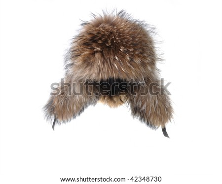 earflaps fur cap winter one on white background - stock photo