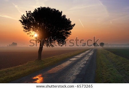 Early Autumn sunrise in the middle of agricultural landscape - stock photo