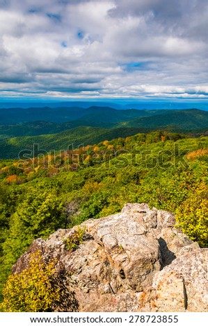 Early autumn view from Bearfence Mountain in Shenandoah National Park, Virginia. - stock photo