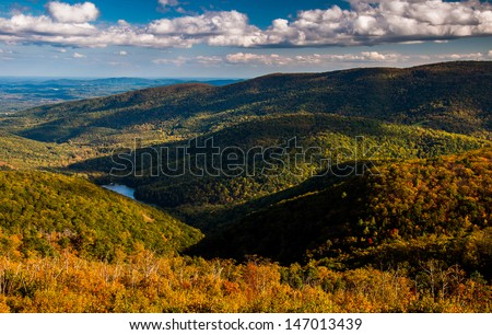 Early autumn view of the Appalachians from Moormans River Overlook, Shenandoah National Park, Virginia.