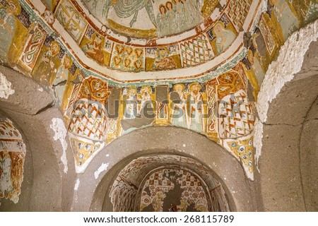 Early Christian fresco in cave orthodox church, Cappadocia, Anatolia, Turkey - stock photo
