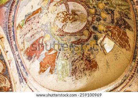 Early Christian fresco in cave orthodox church El Nazar, Cappadocia, Turkey. Goreme open museum, Anatolia - stock photo