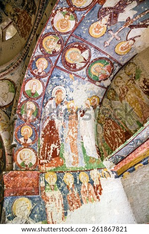 Early Christian fresco in cave orthodox church El Nazar, Cappadocia, Turkey. Goreme open museum, Anatolia - stock photo