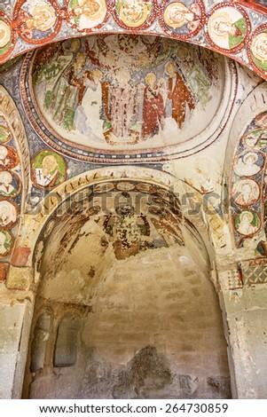 Early Christian fresco in cave orthodox church Goreme, Anatolia - stock photo