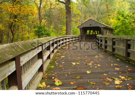 Early Color at Wildwood Preserve in Toledo, Ohio. - stock photo