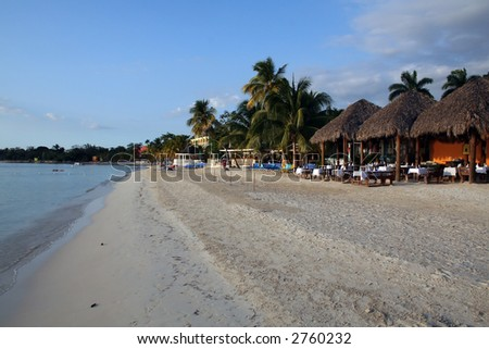 Early evening on the beach at a Jamaican Resort - stock photo