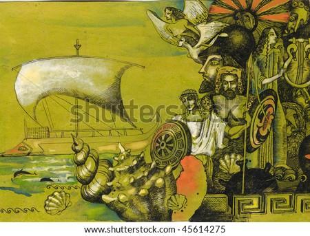 early greece fantasie - stock photo