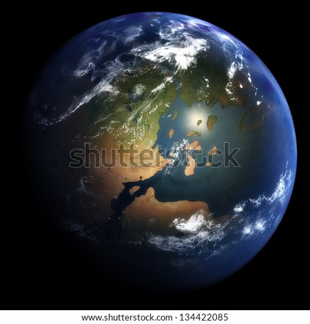 Early Jurassic Earth: 201 Million Years Ago  - stock photo