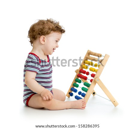 early learning baby boy - stock photo