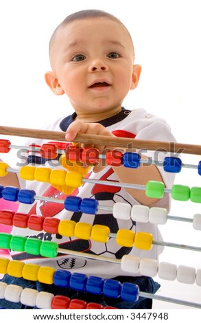early learning baby over a white background - stock photo