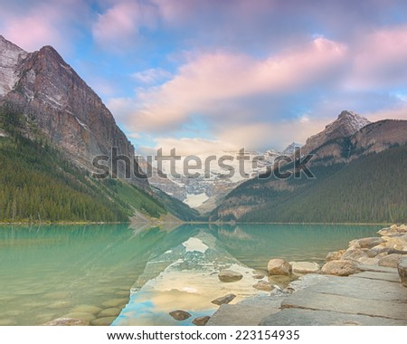 Early Light at Lake Louise, Lake Louise Hamlet, Banff National Park, Alberta, Canada - stock photo