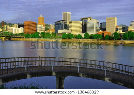 Early Light over Downtown Portland - stock photo