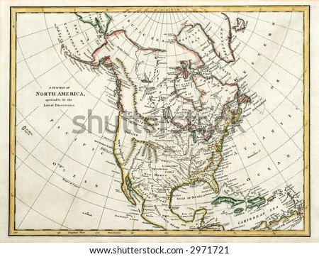 Early map of North America, printed in England and dated 1791. - stock photo