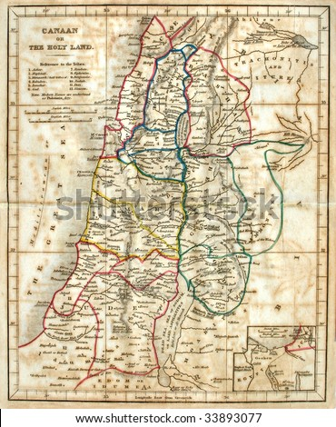 Early map of the Holy Land, line colored, dated 1836. - stock photo