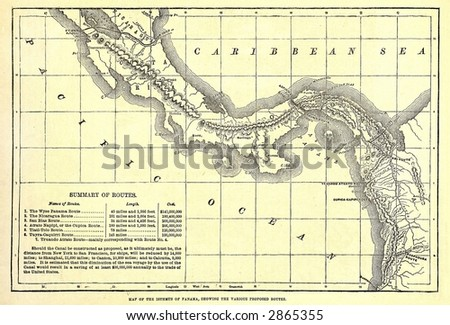 Early 1879 map of various possible Panama Canal Routes. - stock photo