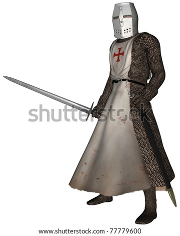 Early Medieval Templar Knight in chain mail and tabard of the order of the Knights of the Temple of King Solomon, 3d digitally rendered illustration - stock photo