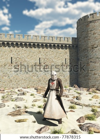 Early Medieval Templar Knight in chain mail and tabard standing in the desert outside the walls of Antioch in the Holy Land, 3d digitally rendered illustration - stock photo
