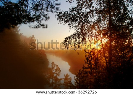 Early mist morning on the river - stock photo