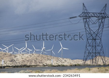 Early morning a windmill farm/Windmill Farm/Operating power wind driven turbines in the early morning - stock photo