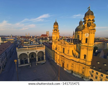 Early morning aerial view of Feldherrenhalle and Theatinerkirche in Munich, Germany - stock photo