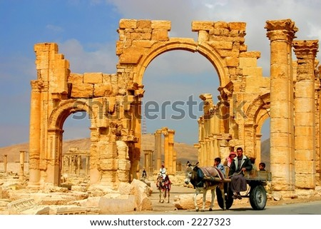 early morning at ancient palmyra in syria