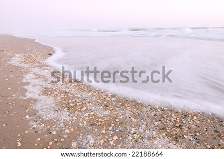 early morning at canaveral national seashore beach as background image