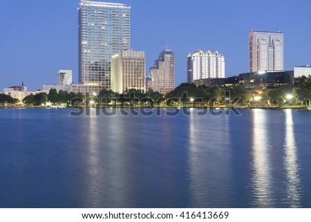 Early Morning at city,Florida.Orlando Florida/Sunrise at Lake Eola - stock photo