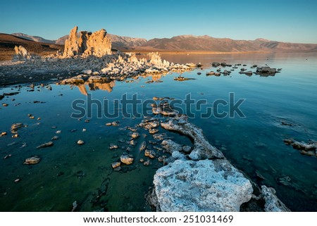Early morning at Mono Lake and it�¢??t famous tufa formations. California. - stock photo