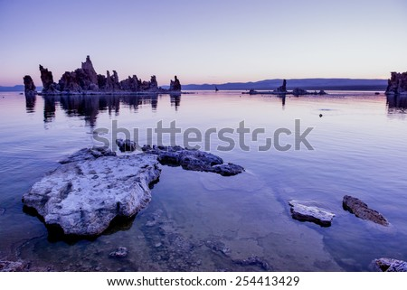 Early morning at Mono Lake and itâ??t famous tufa formations. California. - stock photo