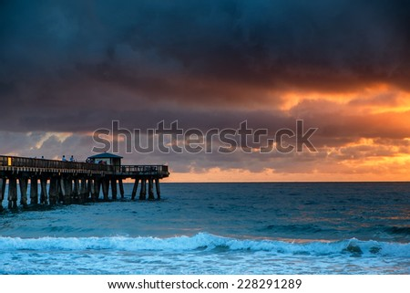Early morning at the beach near Miami. - stock photo